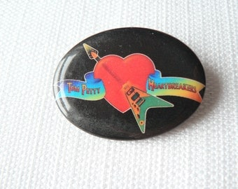 Vintage Late 1970s Tom Petty and the Heartbreakers Debut Album Promotional Pin / Button / Badge