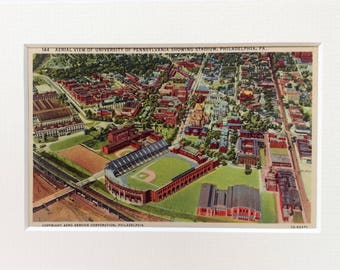 University of Pennsylvania, Vintage Postcard, Aerial View of Stadium, Philadelphia PA, Penn Alumni gift, matted to 5 x 7, Old Penn Postcard