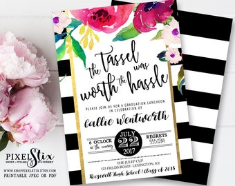 Graduation Invitation, Graduation Party Invitations, College Graduation, High School Graduation, Floral Grad Invite Kate Black and White