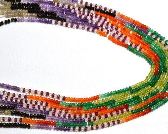 1 Stand 13.5 inch Natural Rare Gem Multi color  Faceted  Rondelle Beads   3 MM