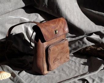Brown buffalo leather backpack