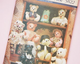 1990s Uncut Butterick #5822 Sewing Pattern Craft Bears and Accessories Toy Crafting Doll Clothes