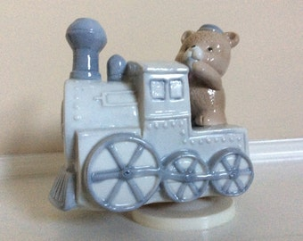 Adorable Porcelain Music Box with a Teddy Bear Conductor.