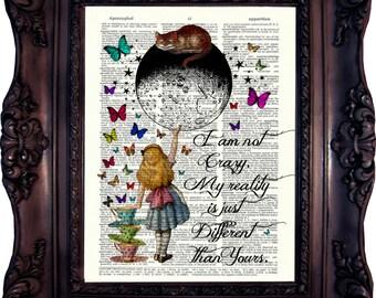 Alice in Wonderland Decoration Alice in wonderland Quote Dictionary ART Print Alice in Wonderland Wall Art Alice in Wonderland Decor C789