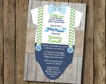 Boy Baby Shower Invitation Navy Lime Kelly Green Baby Blue Bow Tie Suspender Burlap Chevron Wood Shabby Rustic Printable I Customize For You