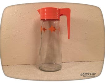 Glass Tang Orange Juice Pitcher 1969 60s 70s L-4027 Anchor Hocking Vintage Kitchen-Plastic-Sixties Seventies retro kitchen beverage Atomic