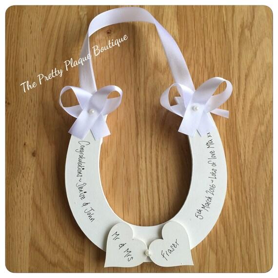Personalised Wedding Horseshoe Gift Plaque Lucky