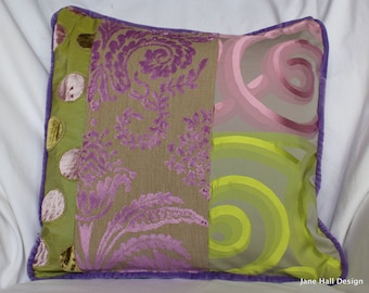 """18""""x18"""", Romantic Style, Decorative Pillow Cover, in Mauve Purple, Designers Guild Green Silk and Velvet Fabric, By Jane Hall Design"""