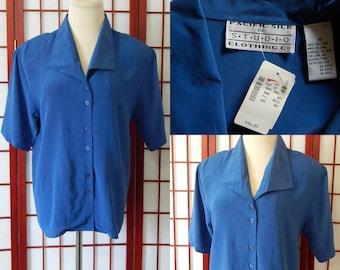 SALE Vtg Silk Blouse Blue Short Sleeved Medium Buttoned Pacific Silk (R6-117)