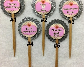 Set Of 12 Personalized Wedding Cupcake Toppers (Your Choice Of Any 12)
