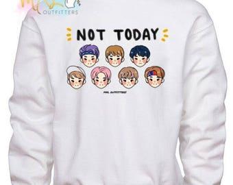 BTS Not Today doodle Crewneck Sweatshirt (Design by apurupai)
