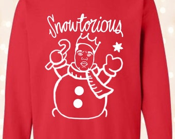 Funny Hip Hop Ugly Christmas Sweater - Snowtorious BIG - Women and Men size shirts
