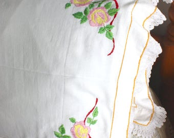 Pair Vintage floral hand embroidered country cottage shabby chic pillowcases