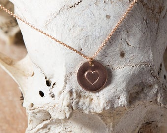 Heart Necklace/Stamped Heart Necklace/Heart letter necklace/heart disc necklace