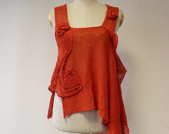 Special price, asymmetrical knitted red linen top, M size. Perfect for Summer.