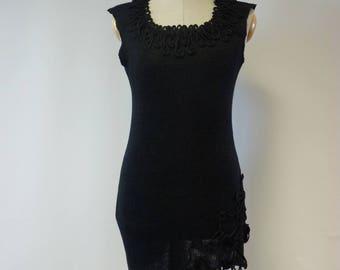 Special price. Amazing elegant black linen asymmetrical tunic, M size.