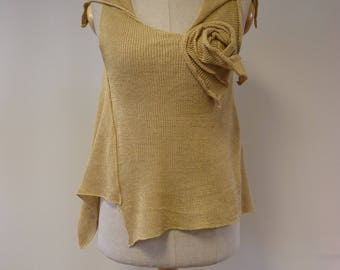 Special price. Summer boho warm beige linen top, M size.
