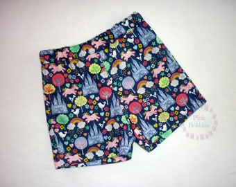 Fantasy shorts - unicorn shorts - rainbow shorts - fairy castle outfit - girly clothing - navy blue clothes - colourful summer - 6m to 12yrs