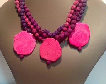 Pink necklace lava stone