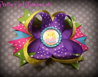 "5"" Easter Chick Egg boutique stacked hair bow on a spring barrette"