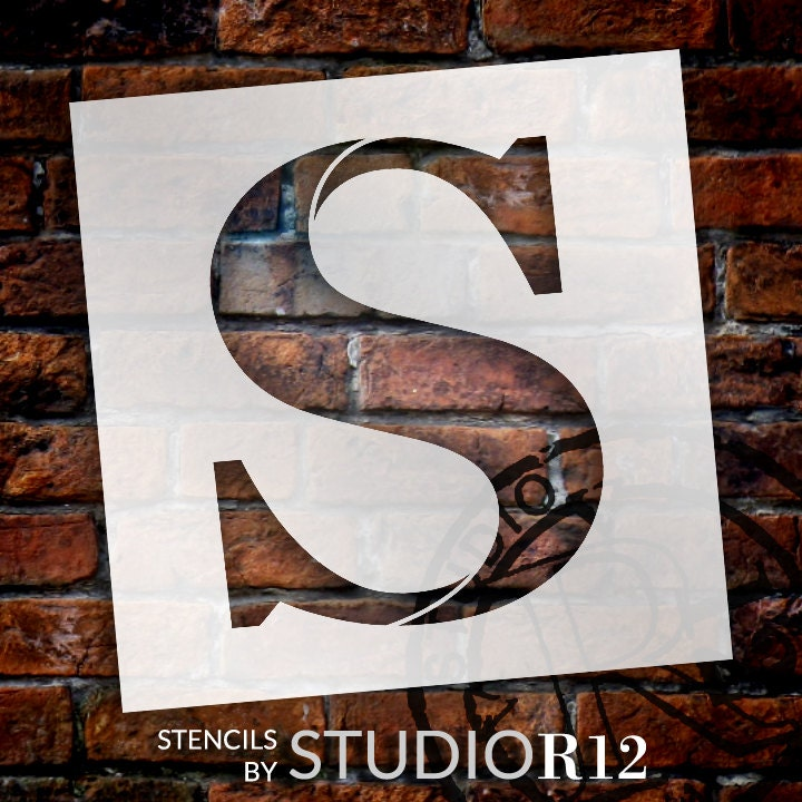 Classic Serif Letter Stencil - S - Select Size - STCL1732 - by StudioR12