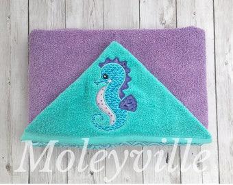 Hooded Baby Towel, Hooded Toddler Towel, Seahorse Hooded Towel, Personalized Hooded Towel, Purple and Teal