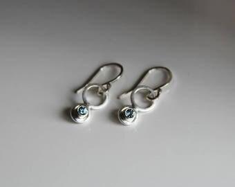 Montana sapphire earrings in Sterling silver, wedding jewelry