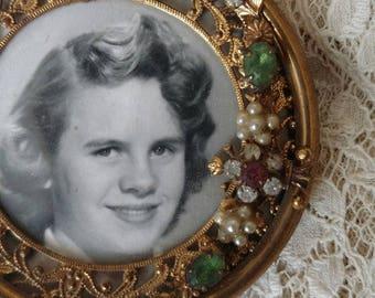 1950s Vintage Picture Frame Brass Round Photo Easel Back Jewels Embellishment Ornamentation