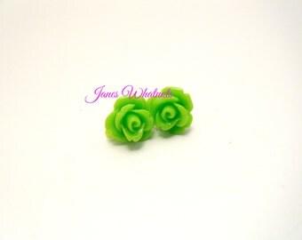 Light Green, Lime green, rose earrings