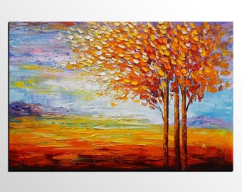 Autumn Tree Art, Landscape Painting, Abstract Painting, Canvas Art, Original Art, Wall Art, Large Art, Oil Painting, Living Room Wall Art