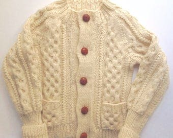 Vintage Child's Cream Aran Cardigan, Leather Buttons, Age 4/5