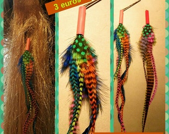 2 hair pins feathers Rooster multicolored grizzly