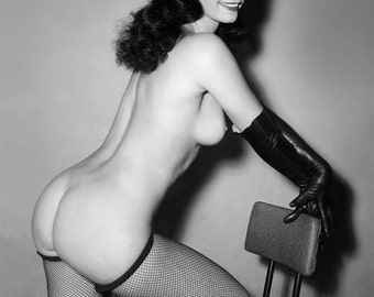 Bettie Page Vintage Poster Art Reproduction 1950's Black & White Print A4