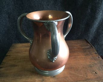 Unusual Morrison and Bowman three-handle copper vase