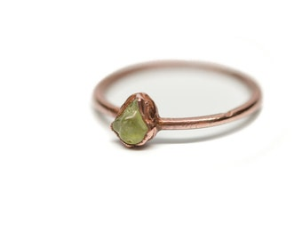 PERIDOT Stacking Ring // Peridot Ring // Stacking Ring // Midi Ring // Dainty Ring // Electroformed Ring // Copper Ring