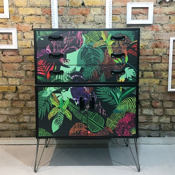 Upcycled vintage retro Gplan tallboy chest of drawers with industrial hairpin legs Harriet Popham design