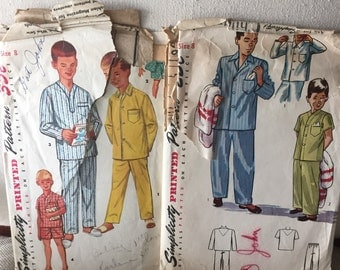 CLEARANCE Vintage 1950's Youth Boys Pajamas  lot - Simplicity 1434 & 2541 sewing pattern size 8