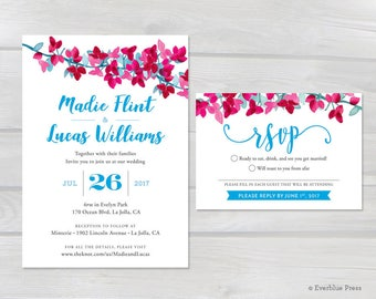 Printable Wedding Invitation & RSVP Suite | 5x7 | Custom Printable PDF Invite | Bougainvillea Pink Floral Flowers Vine | Greek wedding