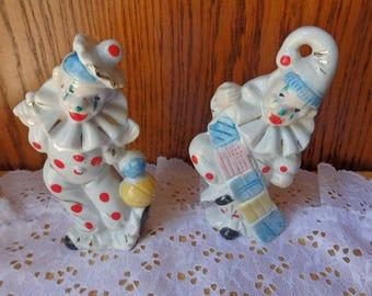 Vintage Japan Porcelain Set of Two Clowns Vintage Porcelain Clowns Circus Clowns