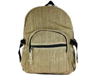Hand made Nettle and  hemp backpack, Hippie Hemp Bag Beautiful Natural  Fabric Backpack. Book bag.