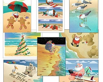 Beach Christmas Card Variety Pack - 24 cards & envelopes - Assortment #2 - 90