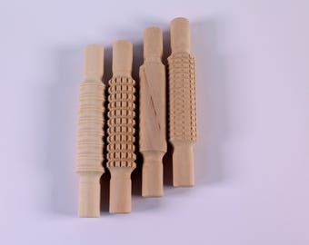 Textured Wooden Rolling Pins Pack of 4 Washable Patterned Surface Modelling Tools