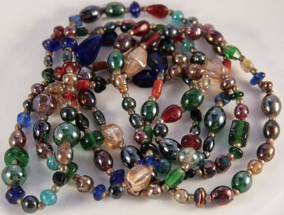 Blown Glass Necklace Bright Rainbow Beaded Necklace Venetian Murano Glass Vintage Expensive Gift Woman Extreme Long Beads Green Blue Red