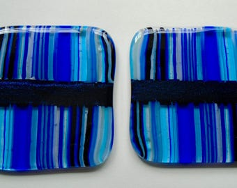 Blue Fused Glass Striped Coaster Pair
