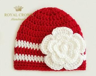 Red Baby Hat,Crochet Baby Girl Hat,Baby Flower Hat,Crochet infant hat,Infant Hats for Girls,Baby Hats for Girls,Red White Baby Hat,Christmas