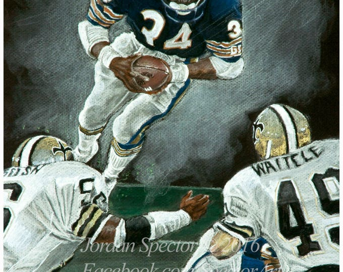 """Walter Payton """"The Great Leap"""" open edition art print - 16x20 inches"""
