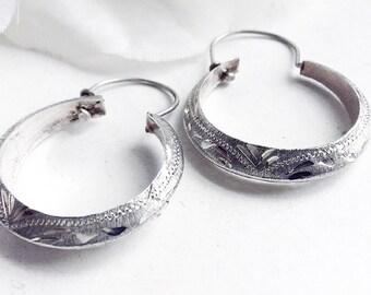 Silver Earrings, Vintage Silver Earrings, Vintage  Scroll Hoop Earrings, Sterling Silver Hoop Earrings, Pierced Etched Silver Hoop Earrings