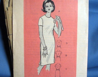Vintage Sewing Pattern 4883 - Womens Sheathdress with Sleeve and Neckline Options