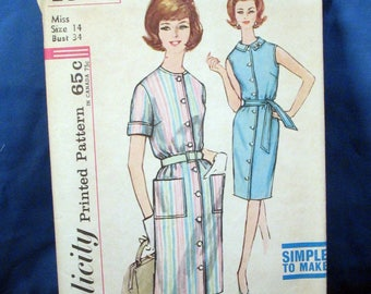 Vintage Simplicity Pattern 4951, Misses Step In Dress Size 14 1960s