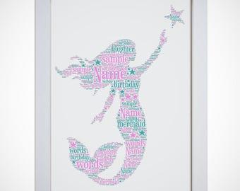 Personalised Mermaid Framed Word Wall Art Cloud Girls Birthday Gift